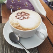 My morning cappuccino at the Hotel Margherita in Praiano, Italy