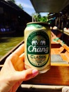 Quenching our thirst with an ice cold Chang beer
