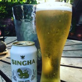 Chillin with an ice cold Singha poolside at the Sheraton