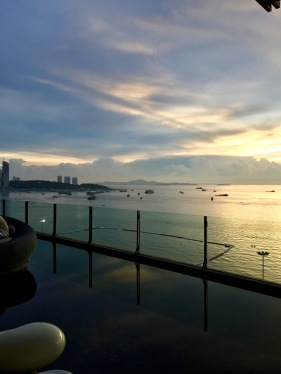 Sunset from the balcony overlooking the sea at the Hilton Pattaya
