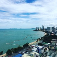 The view of Pattaya Beach from our balcony at the Hilton Hotel