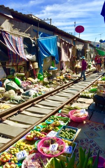 Vendor stalls at the Maeklong Railway Market