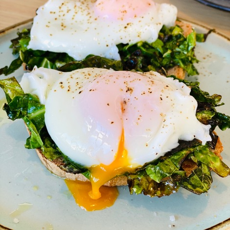 Kale & Spinach Toast with 2 Poached Eggs